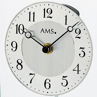 AMS 1142 table clock quartz with pendulum silver metal matt frosted glass