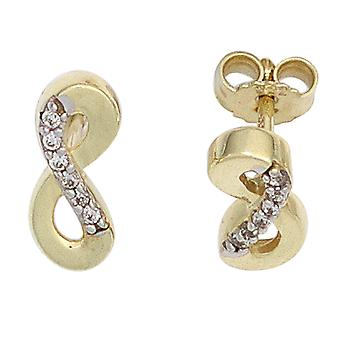 Part of rhodium with cubic zirconia earrings ENDLESS 333 gold yellow gold earring gold