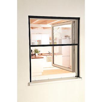 Fliegengitter Insekten-schutz Alu-Fenster-rollo Bausatz 130 x 160 cm in anthrazit