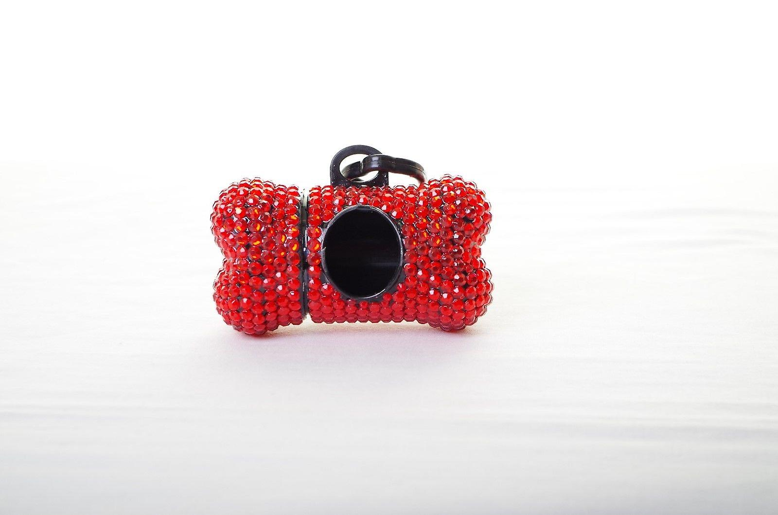 Red Crystal Rhinestone Bone shaped Waste Bag Dispenser