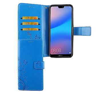 Huawei P20 Lite Handy Hülle Schutz-Tasche Cover Flip-Case Kartenfach Blau