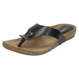 Womens läder samling Casual Toe Post sandaler