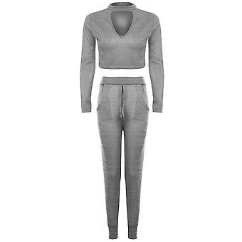 Ladies Choker V Neck Long Sleeve Crop Top Joggers Lounge Wear Set Tracksuit
