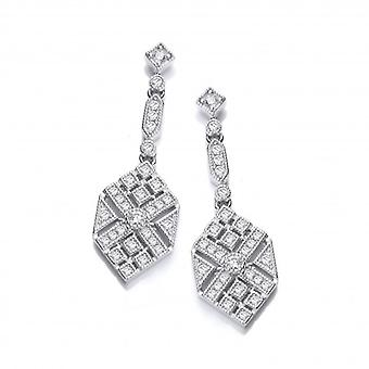 Cavendish French Silver and CZ Victorian Style Hexagon Drop Earrings