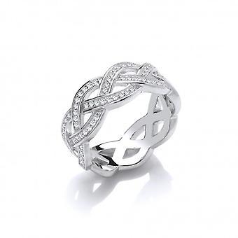 Cavendish francia ezüst és CZ Weave Band Ring