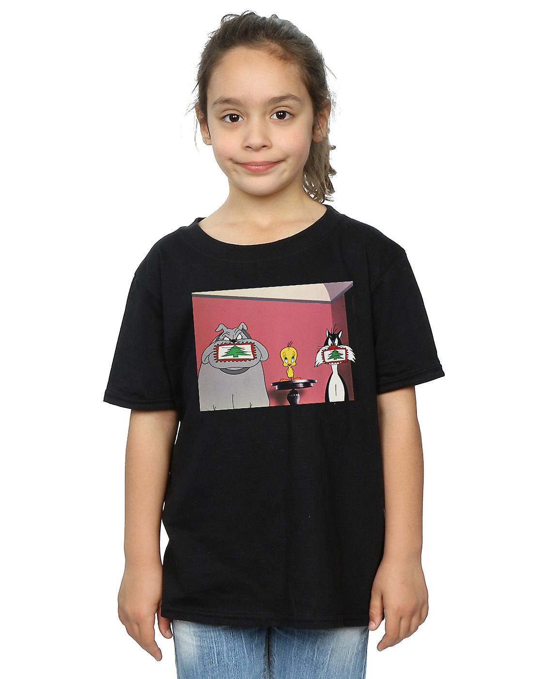 Looney Tunes Girls Christmas Postcard T-Shirt
