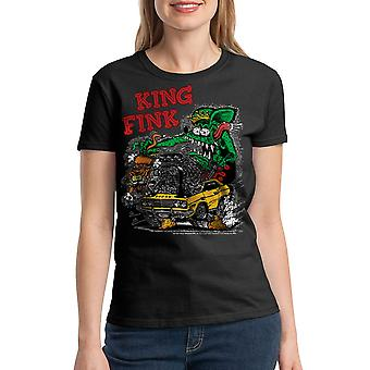 Rat Fink King Fink Women's Black T-shirt