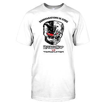 Robocop vs Terminator-conversas em aço Mens T-shirt