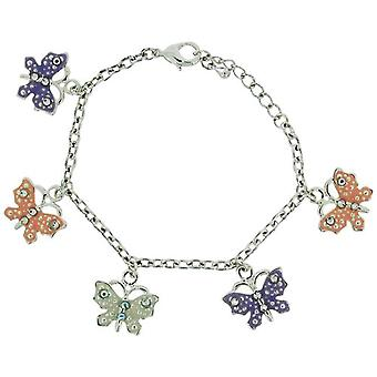 PRYDE Silvertone pastell farget Butterfly Charm armbånd