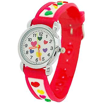Relda Childrens Girl's 3D Multicolor Heart Pink Silicone Strap Watch REL41