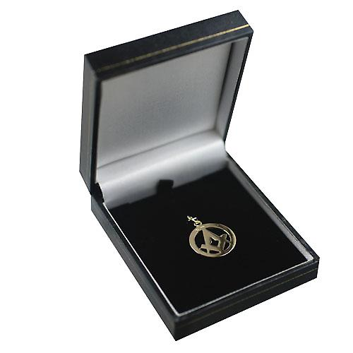 9ct Gold 21mm hand engraved Masonic emblem in circle with G Pendant