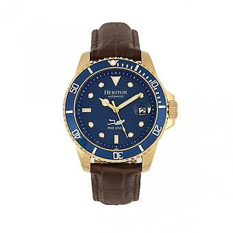 Heritor Automatic Lucius Leather-Band Watch w/Date - Gold/Blue