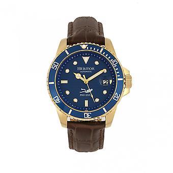 Heritor s automático Lucius banda de cuero reloj w/fecha-oro/azul
