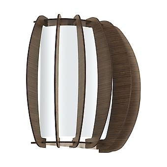 Eglo - Stellato 3 einzelne Lichtwand Einbau In dunkelbraunem Holz und weißen Finish EG95594