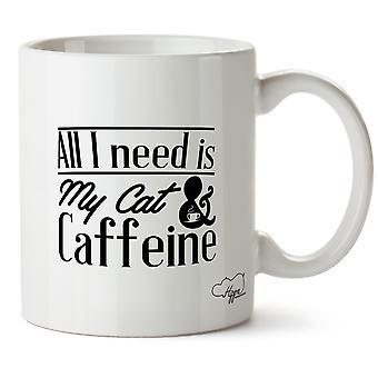 Hippowarehouse alt jeg trenger er min katt & koffein trykte krus kopp keramiske 10 Unzen