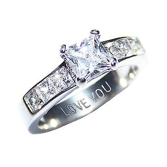 Ah! Jewellery Engraved with 'Love You' Steel Simulated Diamonds Princess Cut Ring