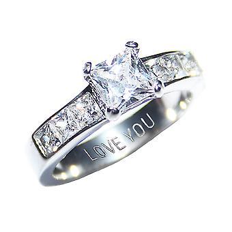 Ah! Biżuteria z wytłoczonym napisem 'Kocham Cię' stali symulowane diamenty Princess cięcia pierścień