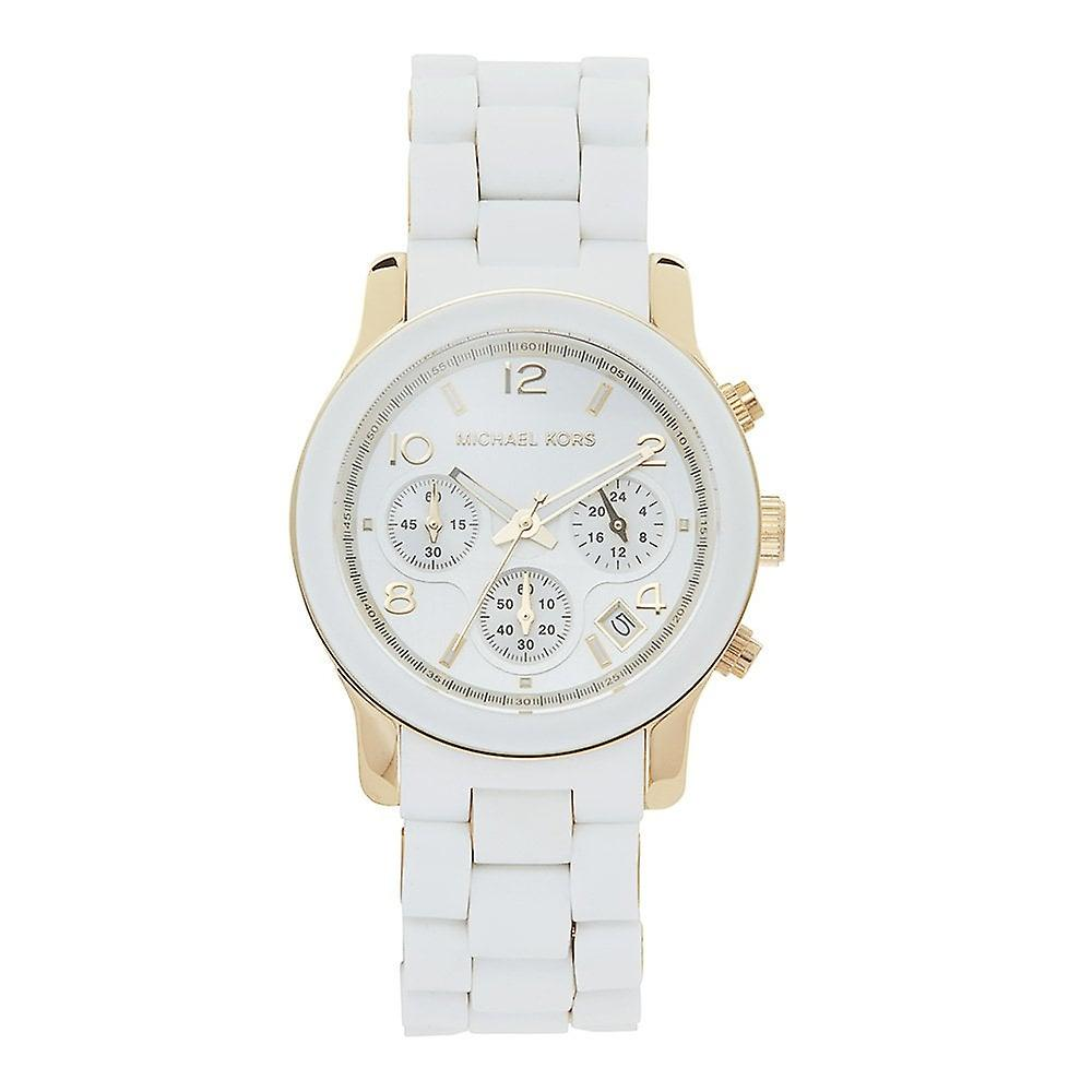 Michael Kors Watches Mk5145 Runway Chronograph White Silicone Coated Stainless Ladies Watch