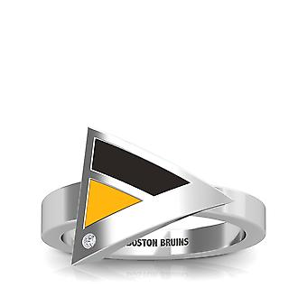 Boston Bruins Engraved Sterling Silver Diamond Geometric Ring In Black and Yellow