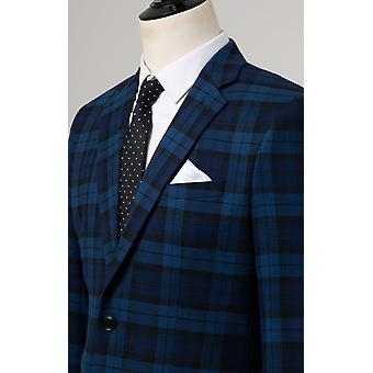 Dobell Boys Blue Tartan Suit Jacket Regular Fit Notch Lapel