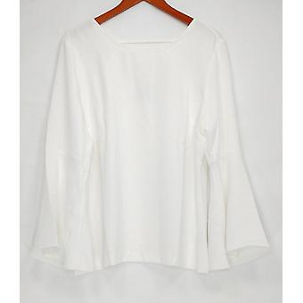 Linea by Louis Dell'Olio Women's Top Crepe w/ Bell Sleeves Ivory A298459