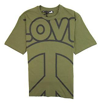 Love Moschino Love Peace Camiseta de Algodón Khaki/negro