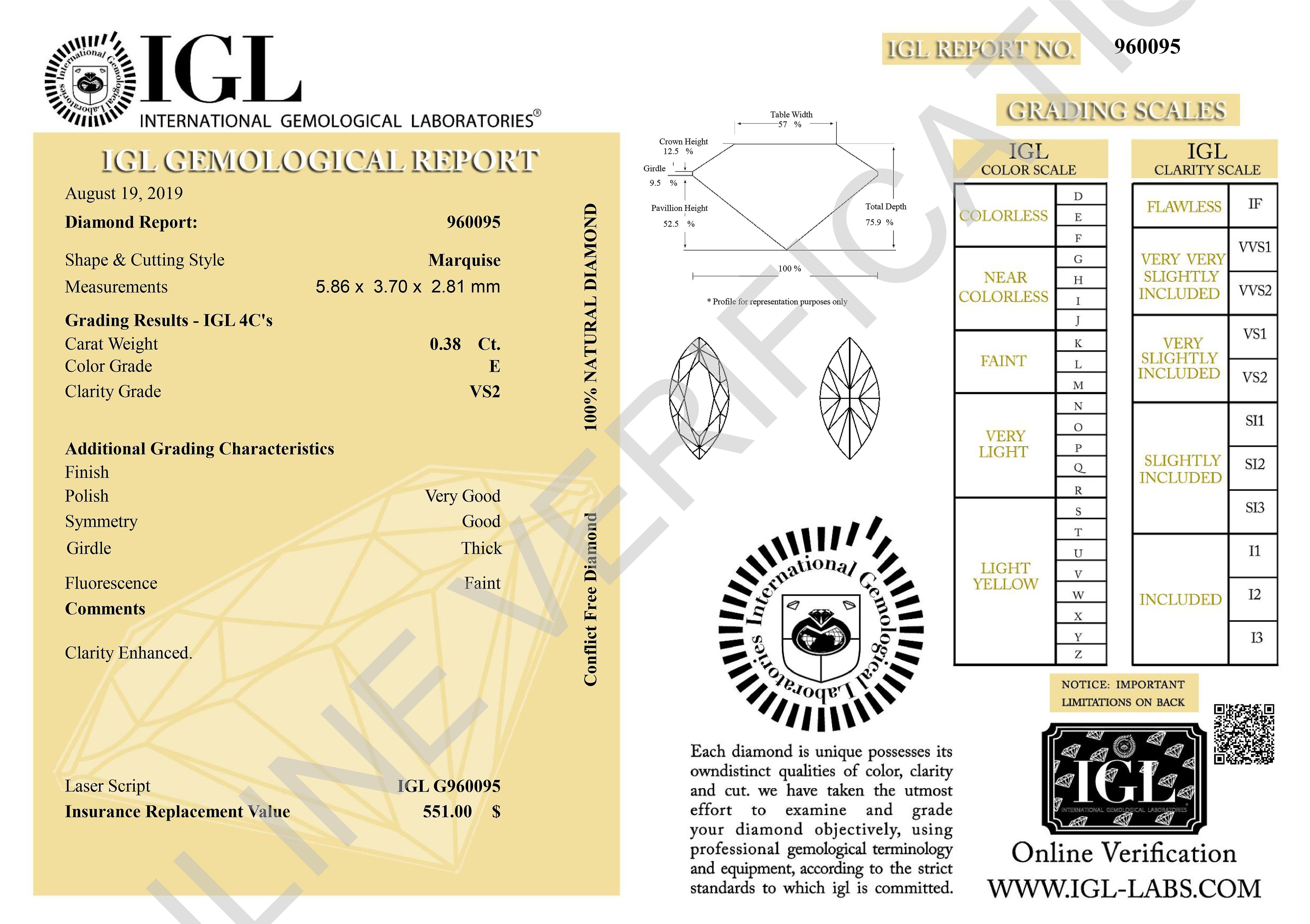 Certified 0.38 Carat E VS2 Marquise Enhanced Natural Loose Diamond 5.86x3.7mm