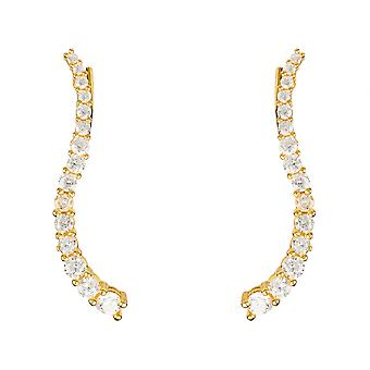 Pair Ear Climbers Earrings White CZ Yellow Gold 925 sterling Silver Fashion