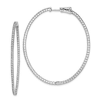 925 Sterling Silver Polished Hinged hoop Safety clasp Rhodium Plated With CZ Cubic Zirconia Simulated Diamond Hinged Ova