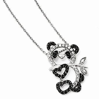 925 Sterling Silver Black rhodium Rhodium plated Fancy Lobster Closure CZ Cubic Zirconia Simulated Diamond Love Heart Te