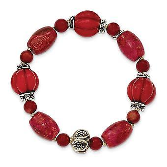 925 Sterling Argent Perles antiques et Rouge Simulé Coral Stretch Bracelet Bijoux Bijoux pour les femmes
