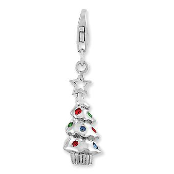 925 Sterling Silver Rhodium plated Fancy Lobster Closure Rhodium Plated Multi Glass Stone Tree With Lobster Clasp Charm