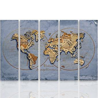 Five Part Picture On Canvas, Pentaptych, Type C, Newspaper World Map