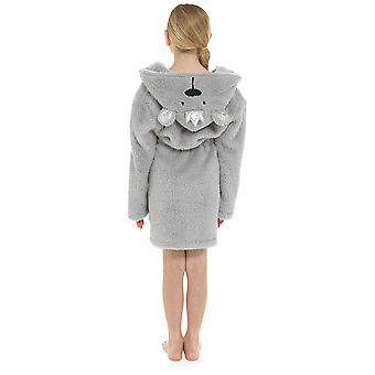 Girls Hood & Crown Glitter Thread Soft Fleece Dressing Gown Nightwear Bathrobe