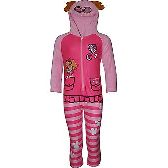Girls HS2085 Paw Patrol Fleece Hooded Sleepsuits / Onesie Pyjamas