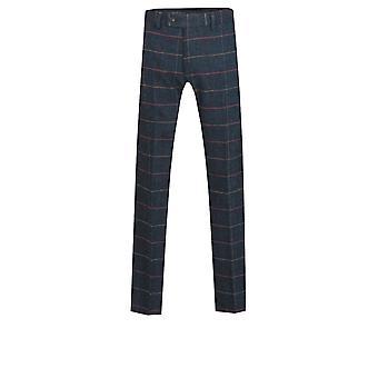 Dobell menns blå Tweed bukser Regular Fit vindusrute sjekk