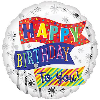 Anagram 18in Happy Birthday To You! Flags Round Foil Balloon
