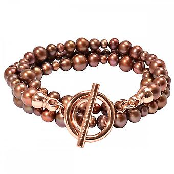 Nikki Lissoni Brown Pearl Large Rose Gold Plated Beaded Bracelet BY03RGL