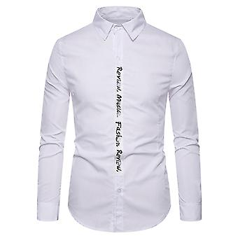 Alle Themen Men's Pointed Collar Letter Print Casual Langarm Shirt