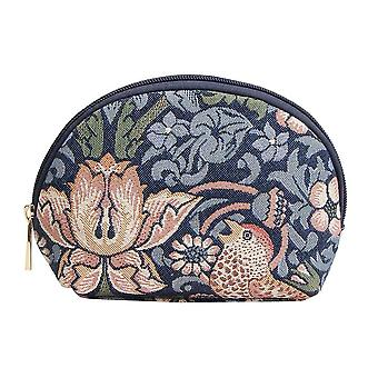 William Morris-Strawberry Thief Blue cosmetische tas door signare tapijt/COSM-stbl