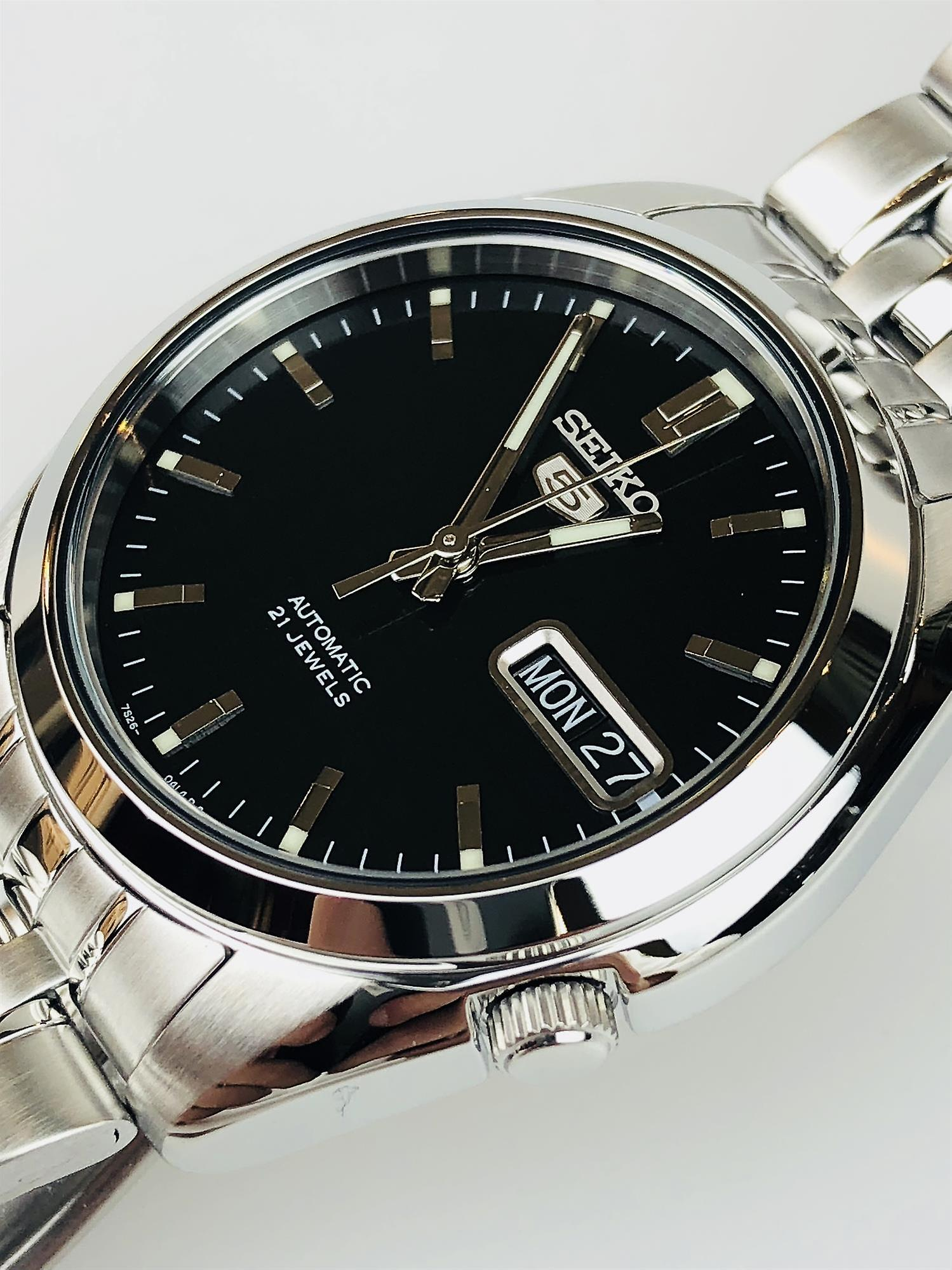 Seiko 5 Automatic Black Dial Stainless Steel Men's Watch SNK361K1