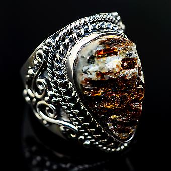 Large Rough Astrophyllite Ring Size 7.75 (925 Sterling Silver)  - Handmade Boho Vintage Jewelry RING983354
