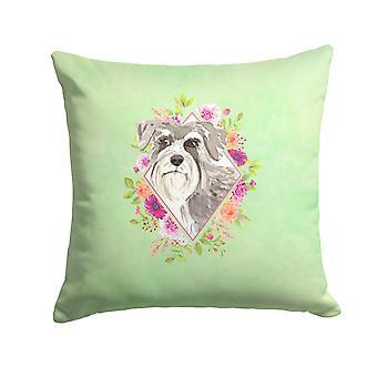 Schnauzer #1 Green Flowers Fabric Decorative Pillow