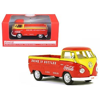 1962 Volkswagen Pickup Truck Coca Cola Orange and Yellow 1/43 Diecast Model Car  by Motorcity Classics