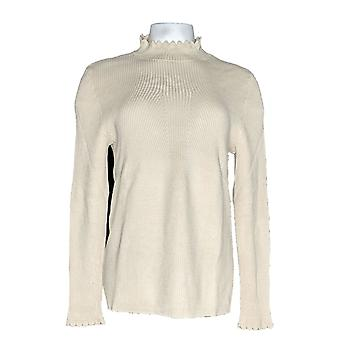 G.I.L.I. got it love it Women's Sweater Ribbed Scallop Mock Beige A311409