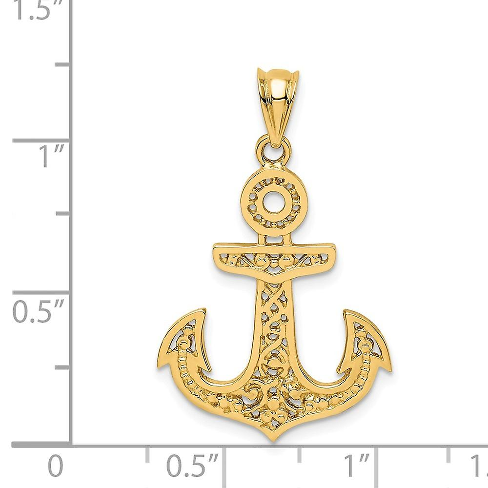 14k Polished Nautical Ship Mariner Anchor Pendant Necklace Jewelry Gifts for Women - 2.2 Grams