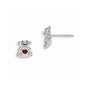 925 Sterling Silber Madi K mit Emaille Teddybär Post Ohrringe Schmuck Geschenke für Frauen - 1,8 Gramm