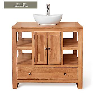 Baumhaus Mobel Oak Bathroom Collection Two Door Single Sink Unit Round