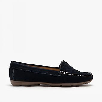 Hush Puppies Margot Ladies Suede Loafers Navy
