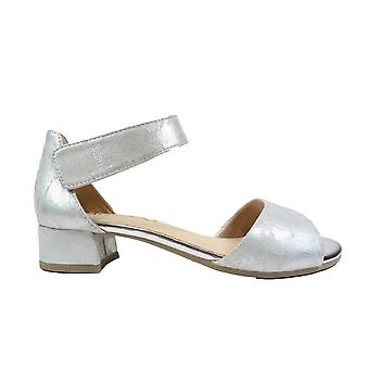 Caprice 28212 Grey Foil Leather Womens Smart Ankle Strap Sandals